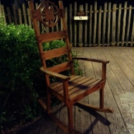 Rocking chairs by the fire