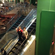 Down the escalator!
